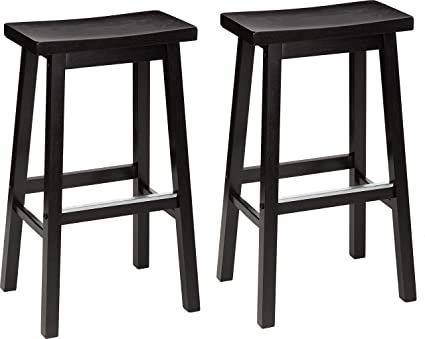 AmazonBasics Classic Solid Wood Saddle-Seat Kitchen Counter Stool with Foot  Plate 29 Inch, Black, Set of 2
