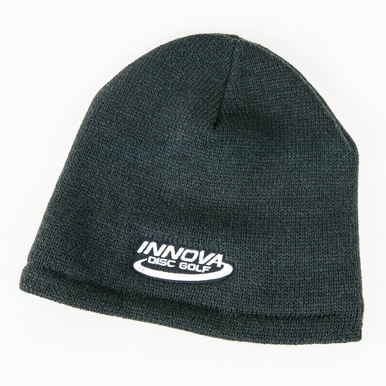 Innovaソリッドロゴニットフリース裏地ビーニー冬ディスクゴルフ帽子 B077QJ1D3R ブラック