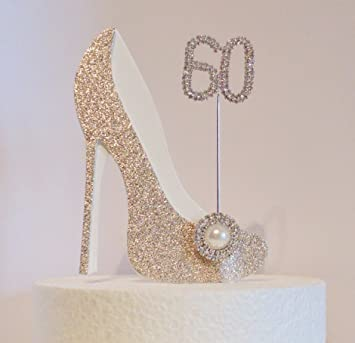 60th Birthday Cake Decoration Gold And White Shoe With Crystal Button Embellishment Diamante Number