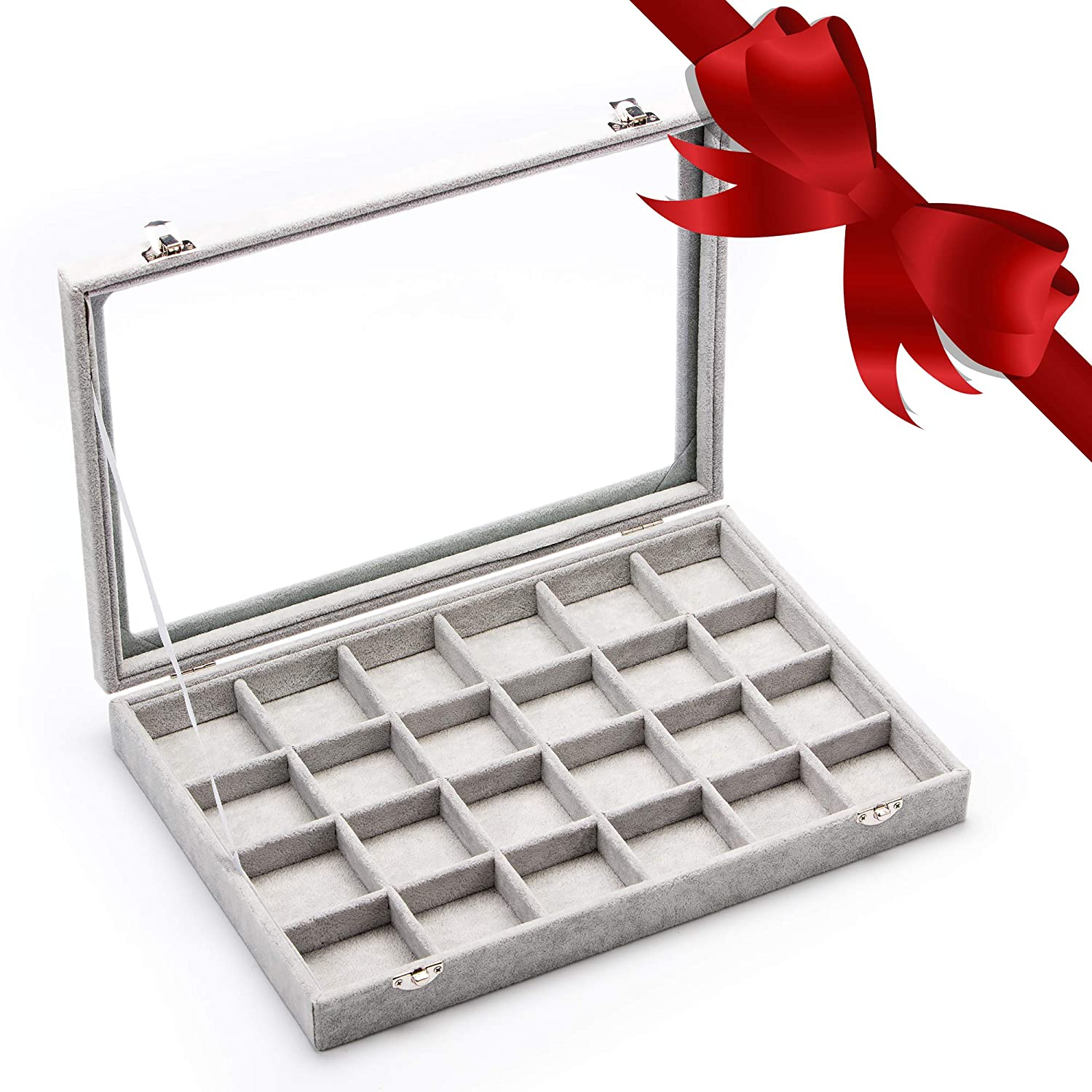 NC11 SHOP The Best Gifts for Wife Velvet Clear Lid 24 Grid Jewelry Tray Showcase Display Storage Box Rings Earrings Brooch Buttons Watch Sunglasses Organizer Glass Top Lockable Removable Case