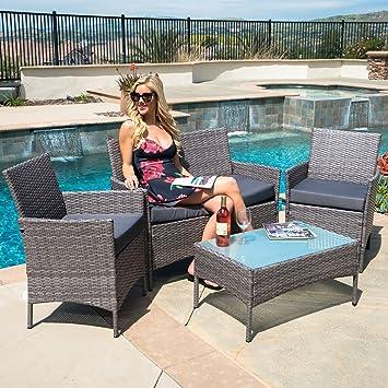 Merveilleux Belleze 4 PC Furniture Outdoor Set | 4 Piece Rattan Outdoor Patio Set | One  Glass