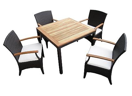 Beherzig - Conjunto de muebles para el jardín (ratán, 4 piezas, mesa ...