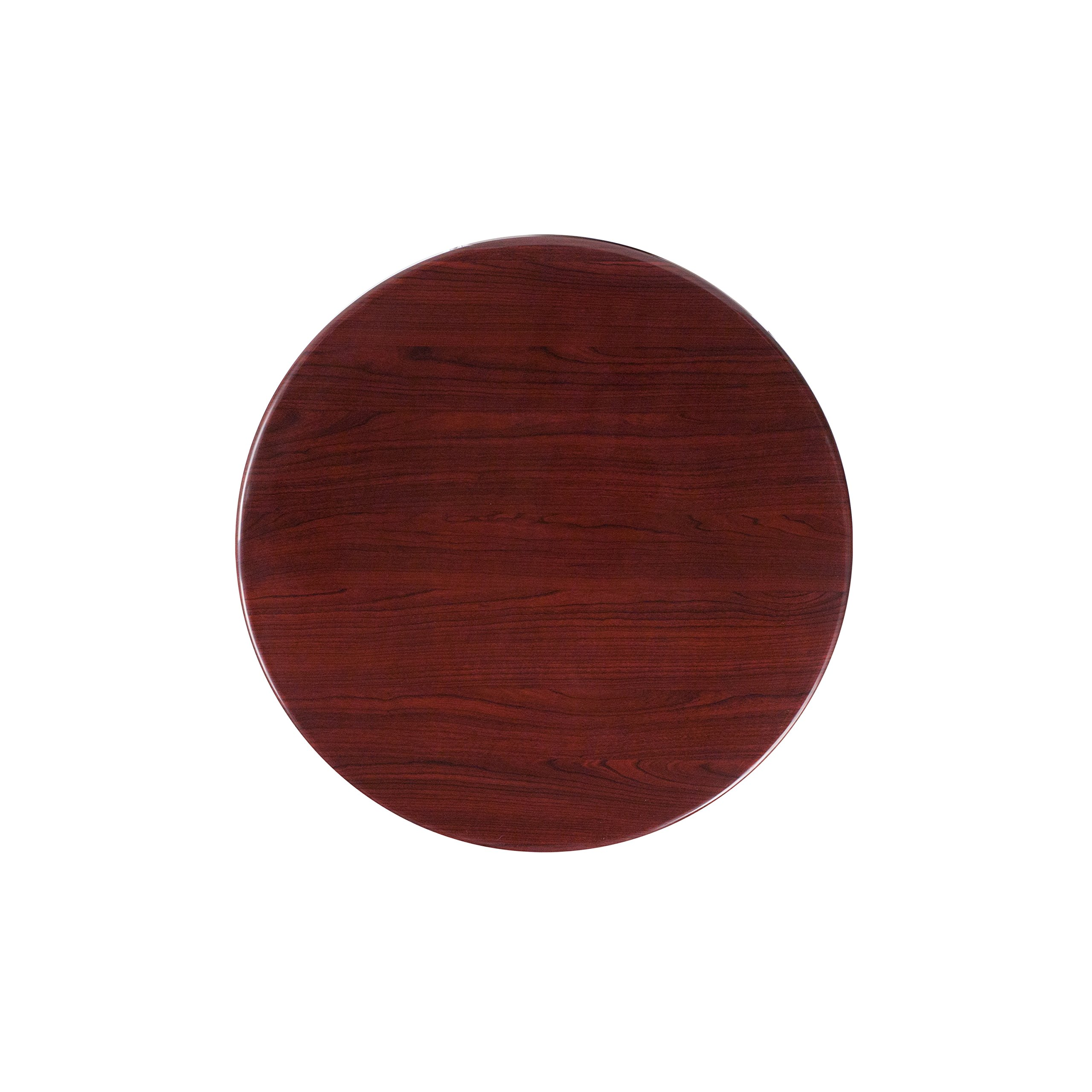 Flash Furniture 24'' Round High-Gloss Mahogany Resin Table Top with 2'' Thick Drop-Lip