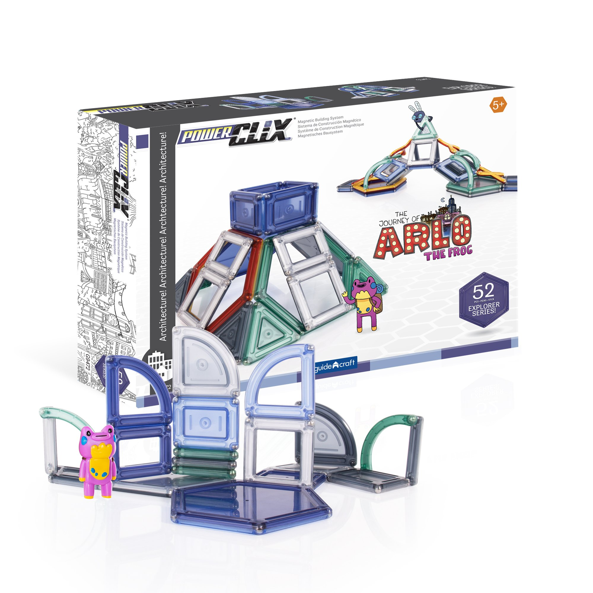 Guidecraft PowerClix Explorer Series - Architecture Magnetic Building Set, STEM Imagination Creativity Skill Development Toy