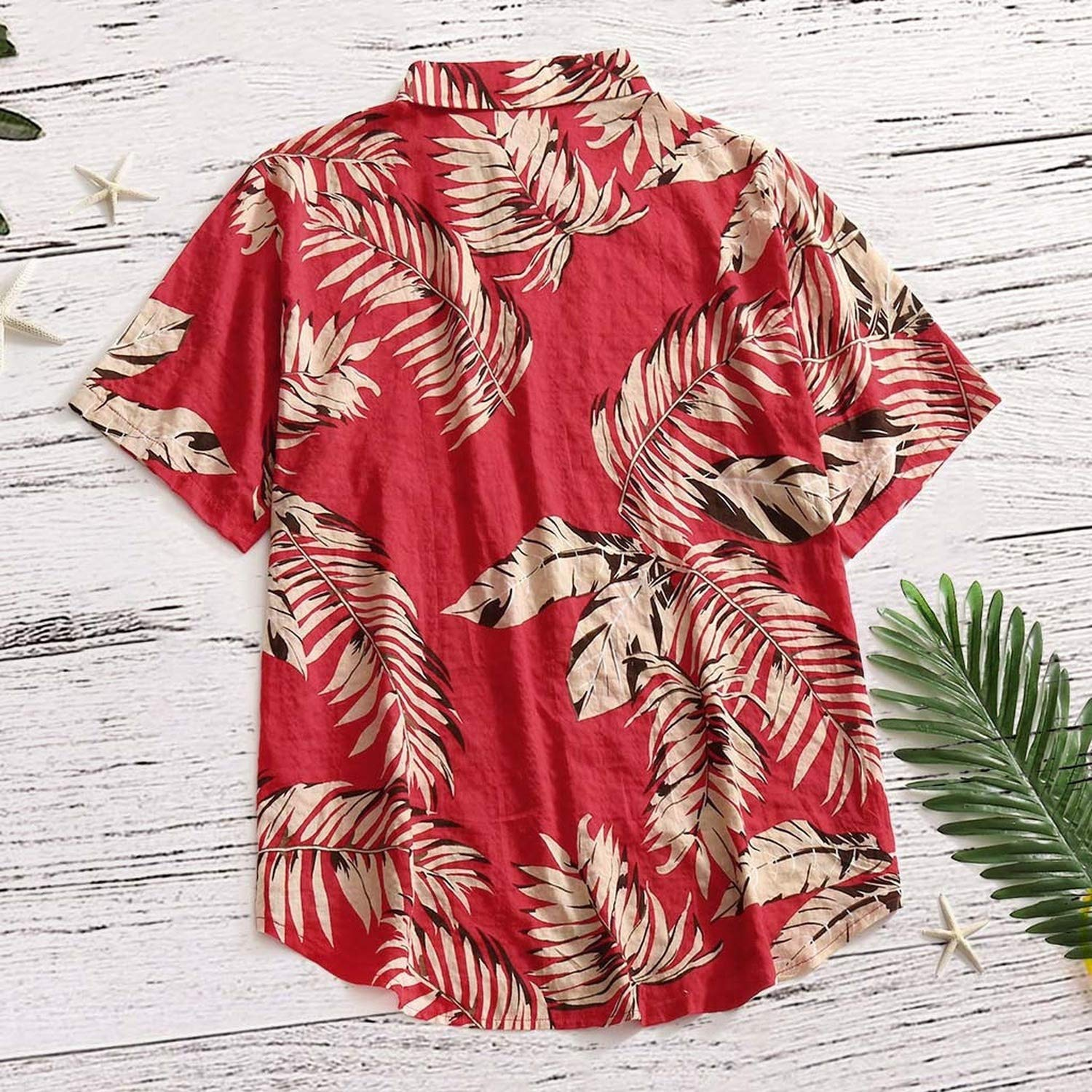 disiren Mens Short Sleeve Print Shirt Casual Stand Collar Button Loose Shirt
