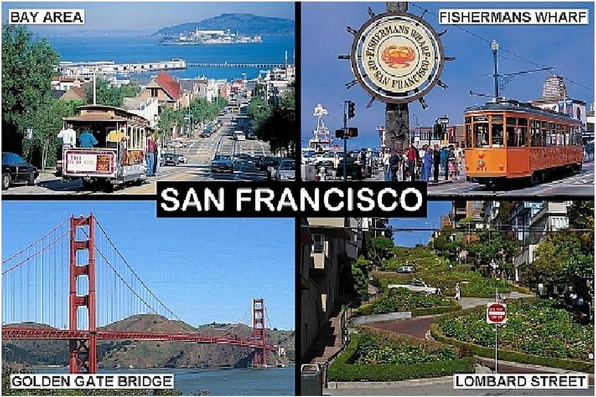 SOUVENIR FRIDGE MAGNET - SAN FRANCISCO CALIFORNIA USA 3½ x 2½ inches Jumbo
