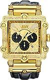 JBW Phantom Homme Diamant 46mm Bracelet Cuir Noir Saphire Quartz Cadran Doré Montre JB-6215-238-G