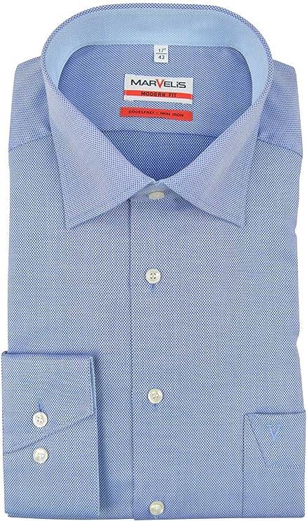 Marvelis Modern Fit Camisa azul estructurada: Amazon.es: Ropa y accesorios