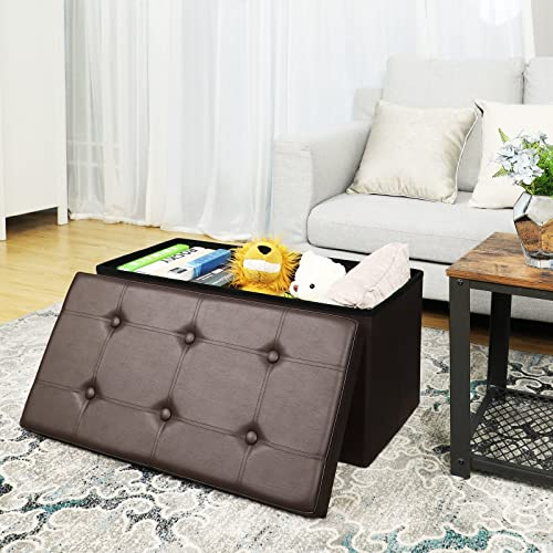 SONGMICS 30 Inches Faux Leather Folding Storage Ottoman Bench, Storage Chest Footrest Coffee Table Padded Seat, Brown ULSF40Z