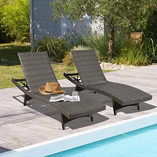 Ulax Furniture Outdoor Wicker Chaise Lounge Adjustable Patio Woven Padded Chaise Lounge Chair