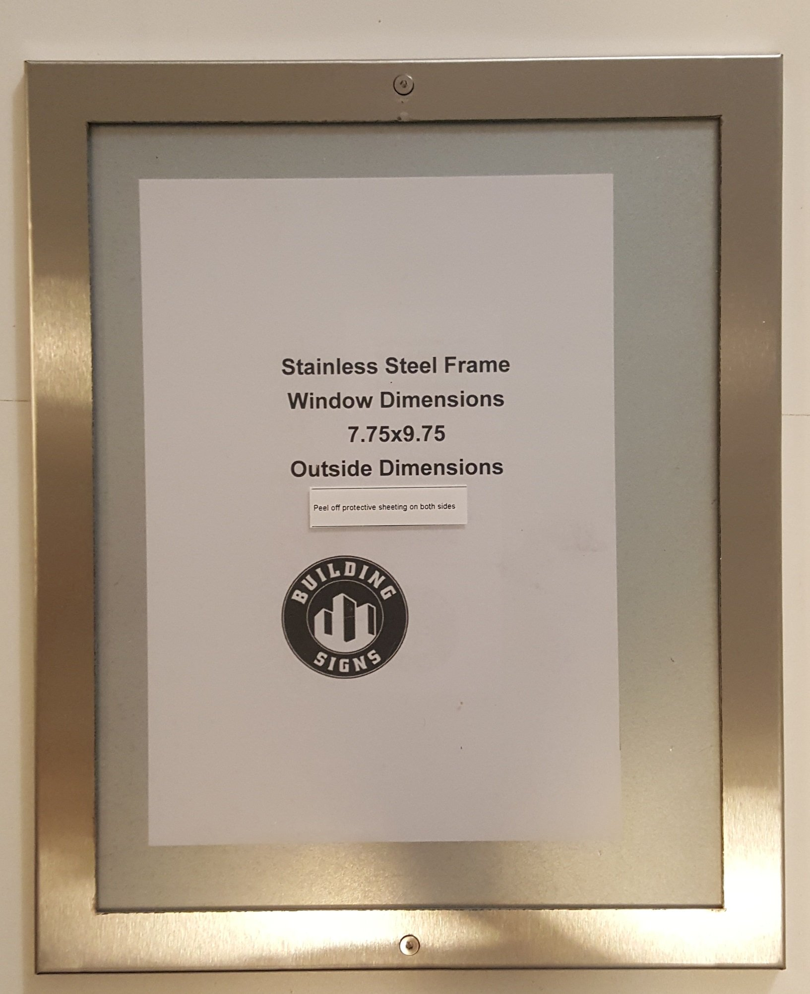 Elevator certificate frame 7.75 x 9.75 stainless Steel