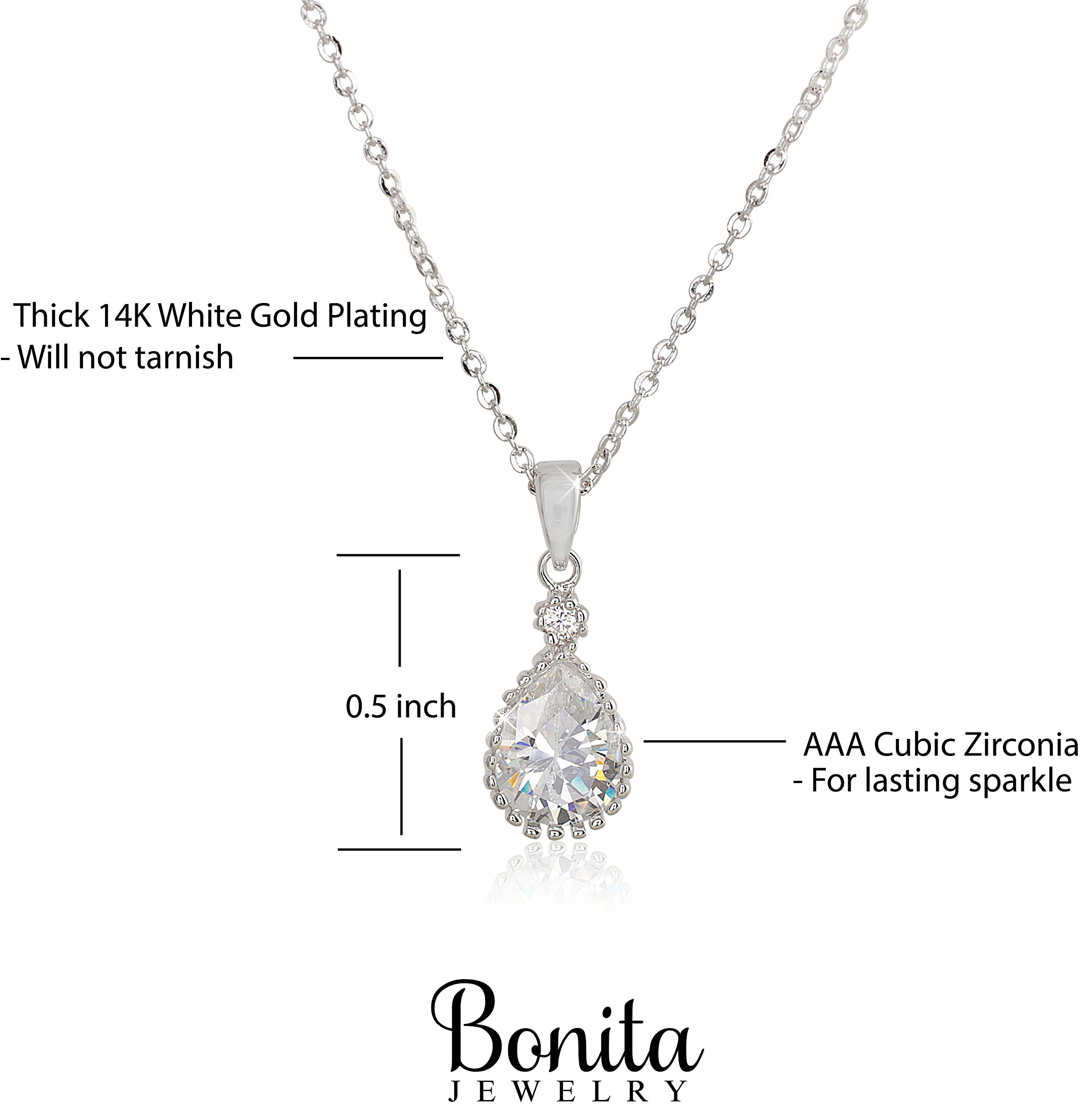 Teardrop Cubic Zirconia Necklace Pendant - A Pretty Necklace That Sparkles Like a Diamond For Women and Girls