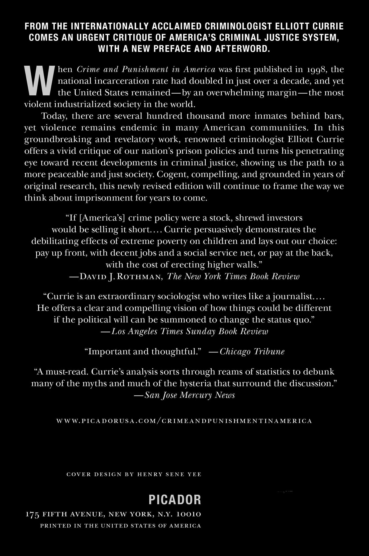 Crime and Punishment in America: Elliott Currie: 9781250024213: Amazon.com:  Books