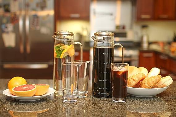 Cold Brew cafetera eléctrica - Jarra de cristal con filtro fácil de limpiar, tamaño grande. Café, té helado, helado Brewer y agua infusor: Amazon.es: Hogar