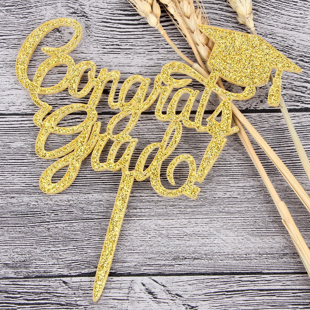 INNORU Congrats Grad Cake Topper - Class of 2018 Graduate Party Decorations Supplies - High School Graduation, College Graduate Cake Topper (Glitter Gold) by INNORU (Image #3)