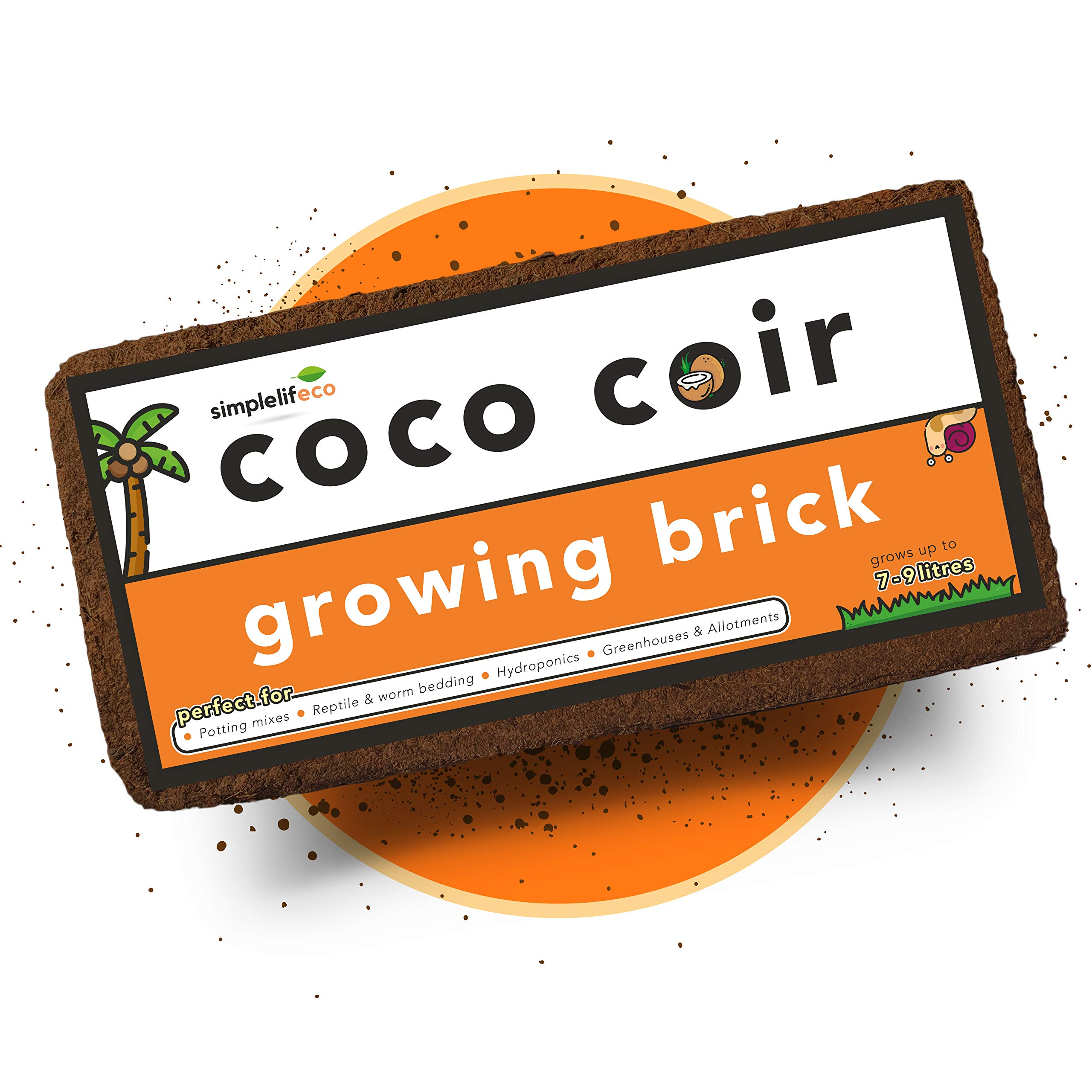 simplelifeco UK Coconut Coir Soil Growing Brick Compost Block | Grows up to 9 Litres | 100% Sustainable Peat-Free Planting Medium (Single Pack)