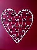 Portafotos de Alambre en Forma de Corazón Grande para Colgar Estilo Vintage Color Crema 51 x 56cm