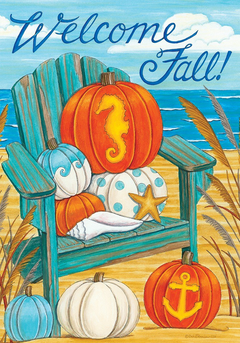 Welcome Fall - Coastal Adirondack - GARDEN Size, 12 Inch X 18 Inch, Decorative Double Sided Flag Printed in USA - Copyright and Licensed, Trademarked by Custom Décor Inc.