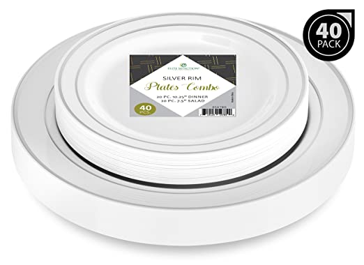 """Elite Selection Set Of 40 Party Plastic Plates Silver Rim Includes 20 Dinner Plates 10.25"""" And 20 Salad / Dessert Plates 7.5"""""""