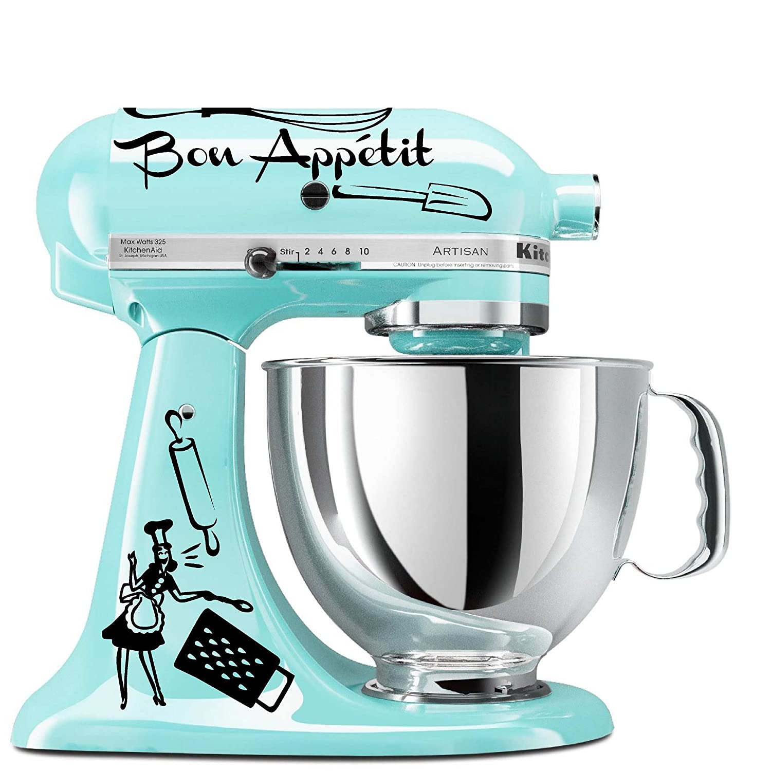 Amazon.com: Bon Appetit Mixer Decal Set (Blue): Kitchen & Dining