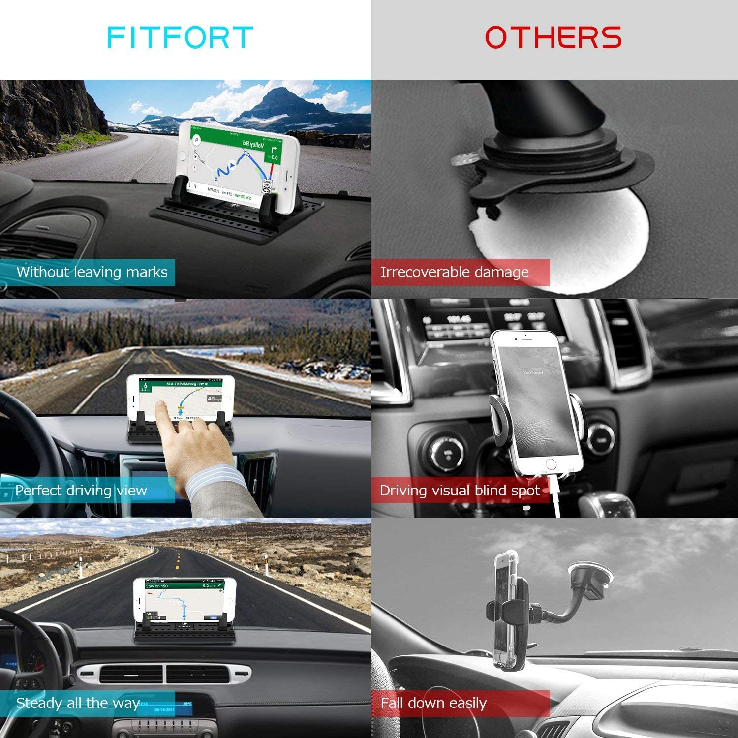 Vehicle GPS Mount Universal Fit All Smartphones Silicone Car Phone Dashboard Car Pad Mat Anti-Slip Desk Phone Holder Stand Laiys Cell Phone Holder for Car