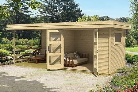 Jardín Casa G145 con soporte suelo, Terraza y Arrastre techo – 28 mm listones hogar, superficie: 13,90 M², tejado plano: Amazon.es: Bricolaje y herramientas