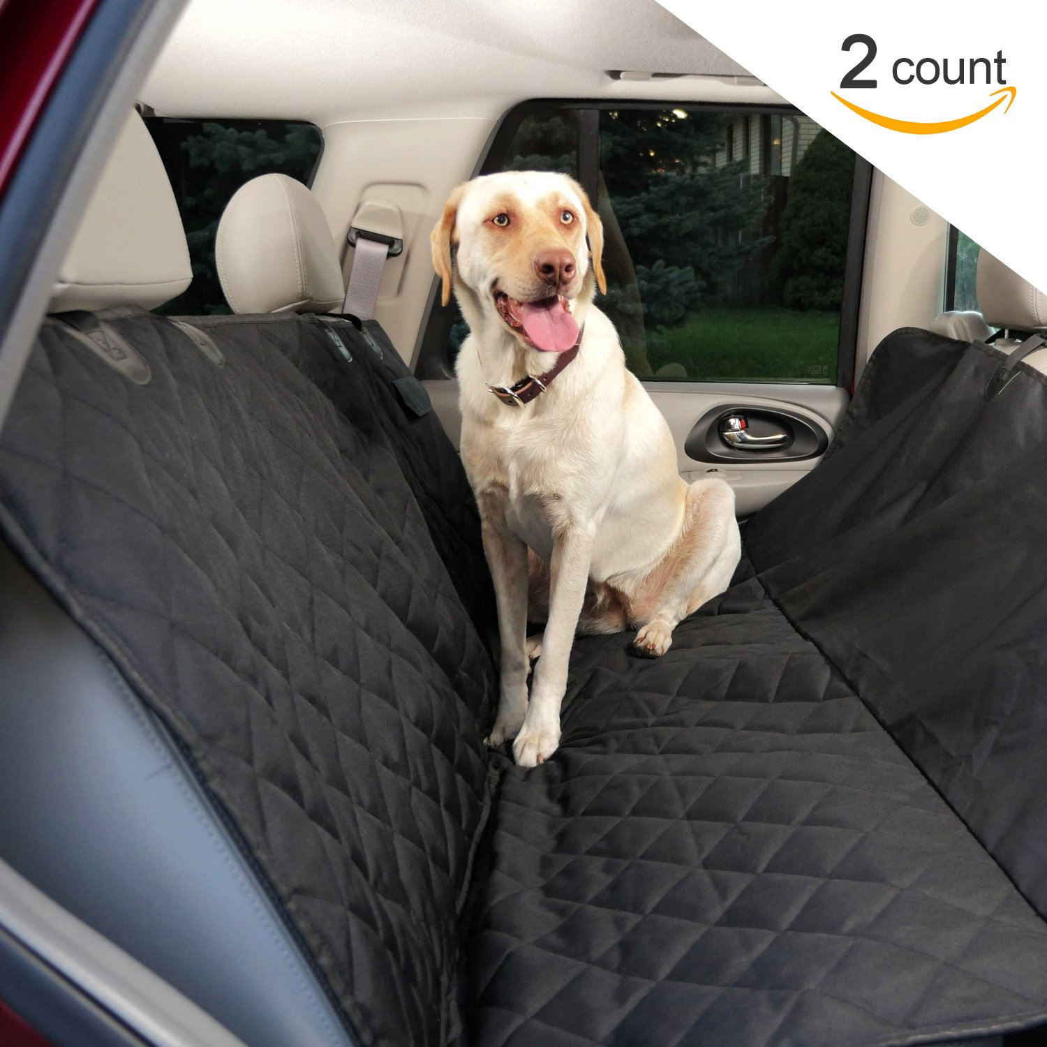 Premium Dog Seat Covers for Cars (2 Pack) - Waterproof Hammock Style Pet Seat Covers. Quilted 600d Cover for Leather & Fabric Back Seats in Cars, Trucks and Suv's