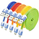 Besgoods 5 Pack Premium Nylon Braided 6ft Micro USB Cable High Speed long USB 2.0 A Male to Micro B Sync and Charging Cable for Android, Samsung, Sony, HTC, and more, Red Orange Yellow Blue Green
