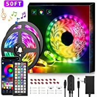 50Ft LED Strip Lights Music Sync Color Changing RGB LED Strip 44-Key Remote, Sensitive Built-in Mic, App Controlled LED…
