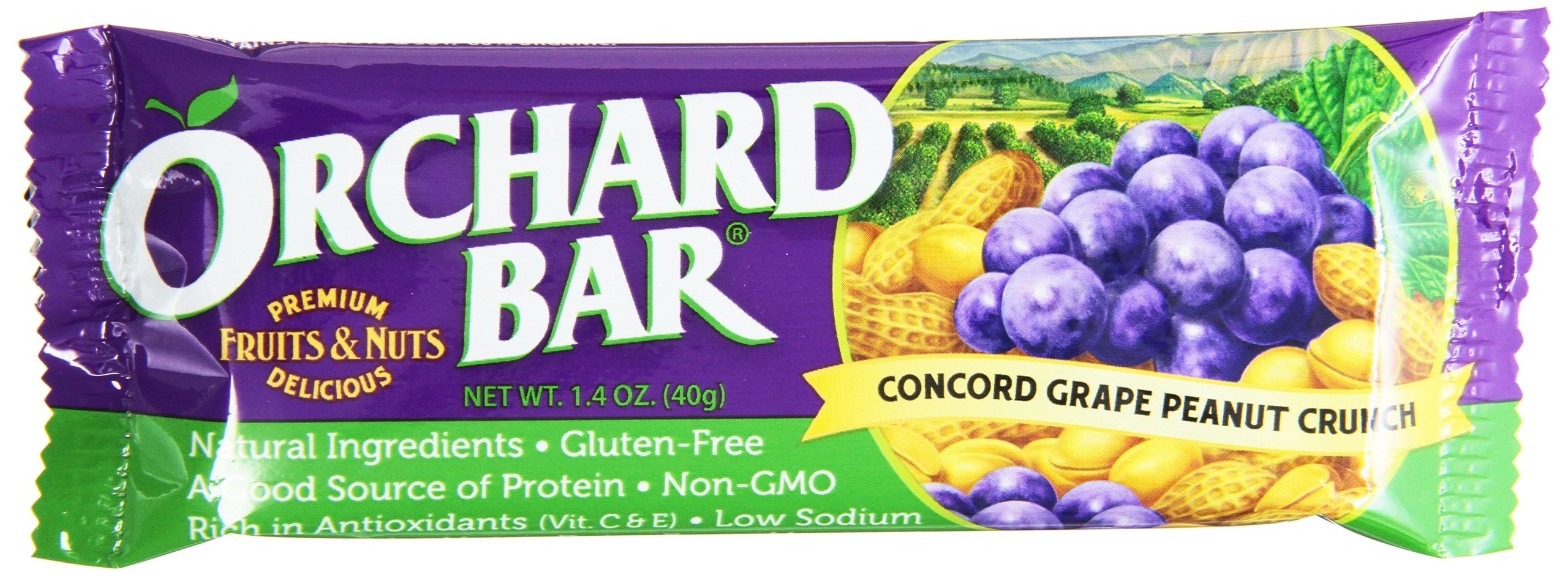 Orchard Bars Peanut Crunch Fruit and Nut Bar, Concord Grape, 1.4 Ounce (Pack of 12)