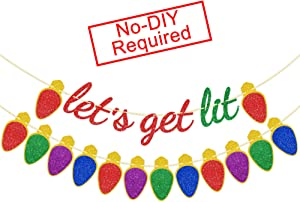 Let's Get Lit Banner Red Green Glitter - Christmas Decorations - Colorful Christmas Light Bulb Garlands for Mantle Fireplace - Xmas Holidays New Year Home Office Hanging Decor- Xmas Banner for Home