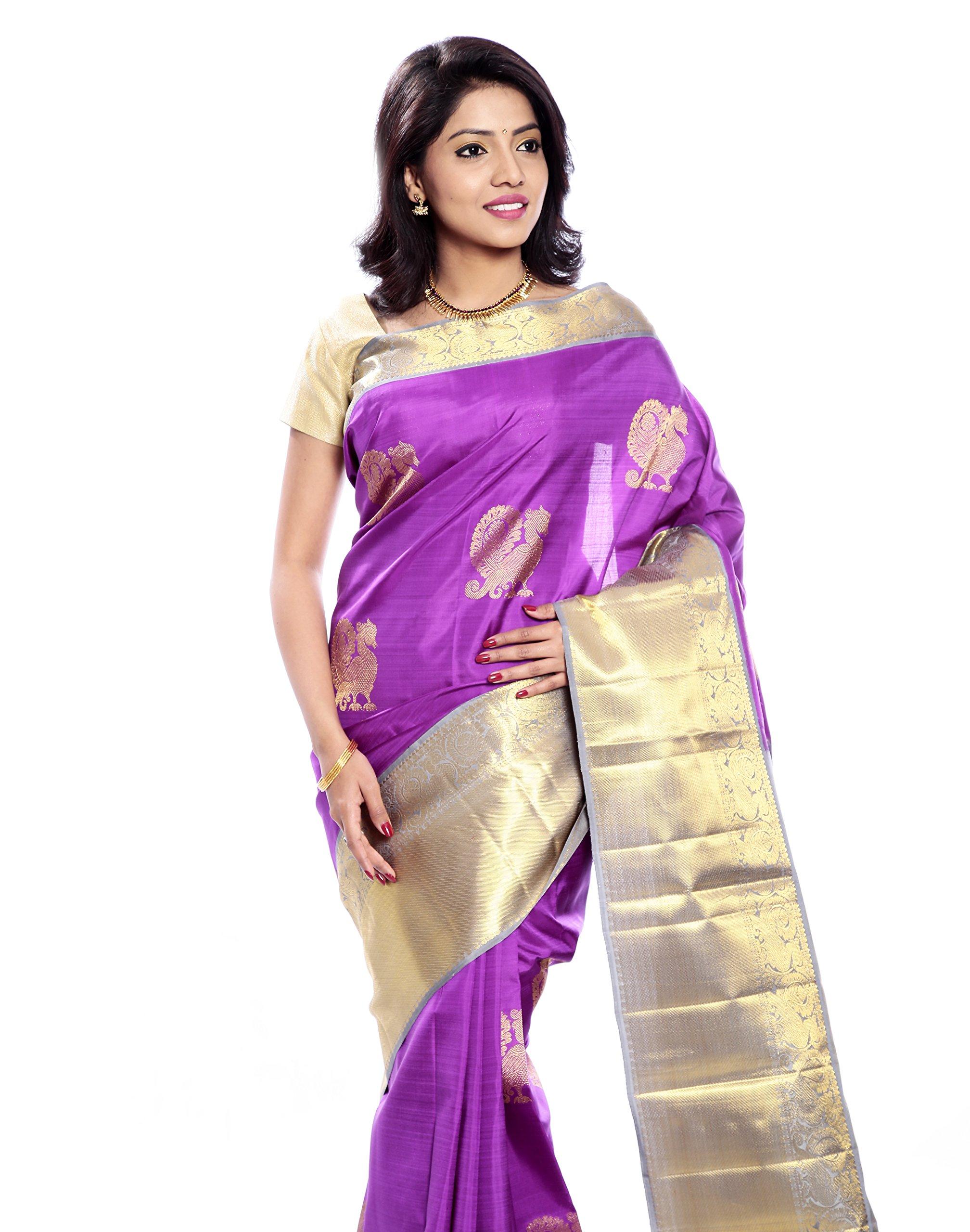 Mandakini — Indian Women's Kanchipuram - Handloom - Pure Zari & Pure Silk Saree (Magenta ) (MK212)