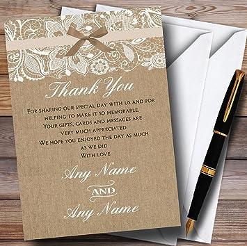 Wedding Thank You Cards.Vintage Burlap Lace Personalised Wedding Thank You Cards