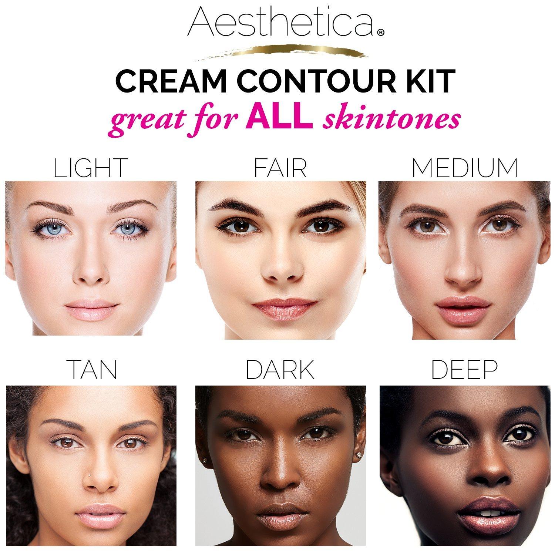 Amazon.com : Aesthetica Cosmetics Cream Contour and Highlighting Makeup Kit - Contouring Foundation/Concealer Palette - Vegan, Cruelty Free & Hypoallergenic ...