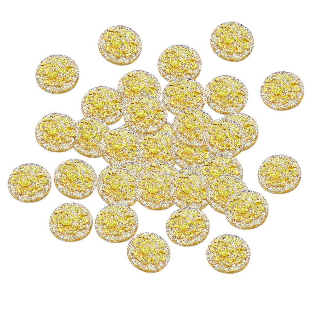 B Baosity 50Piezas Beads Artesanías para Scrapbooking Álbumes y Pegatinas Adornos DIY - Amarillo Dorado: Amazon.es: Juguetes y juegos
