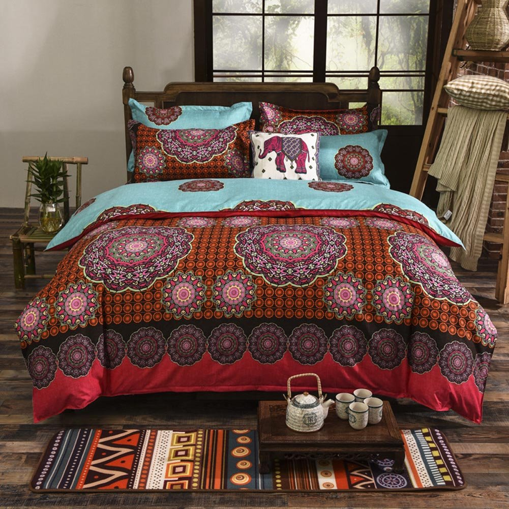 New Boho Style Bedding Set,Modern Floral Printed 4 Pieces Boho Bedding Set
