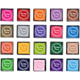 LOVOUS 20 Colors Rainbow Craft Finger Ink pads for Rubber Stamps Card Making Preschool Kids Finger Painting Training Washable Ink Pad Non-toxic
