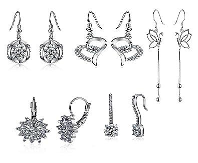 Women/'s Long Round White Black Crystal Long Drop Stud Earrings Jewellery Gift UK