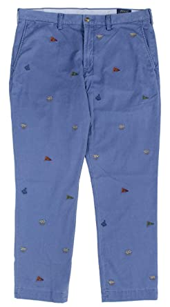 d30c28df RALPH LAUREN Polo Men's Embroidered Nautical Stretch Straight-Fit Chino  Pants, Haven Blue (