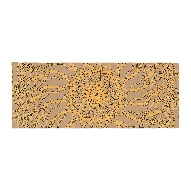 Kess InHouse Patternmuse Mandala Spin Latte Brown Yellow Bed Runner