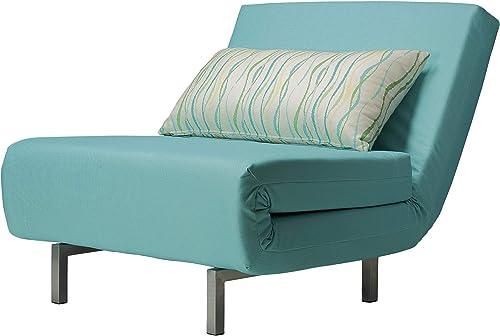 Cortesi Home Savion Convertible Accent Chair futon, Aqua Blue
