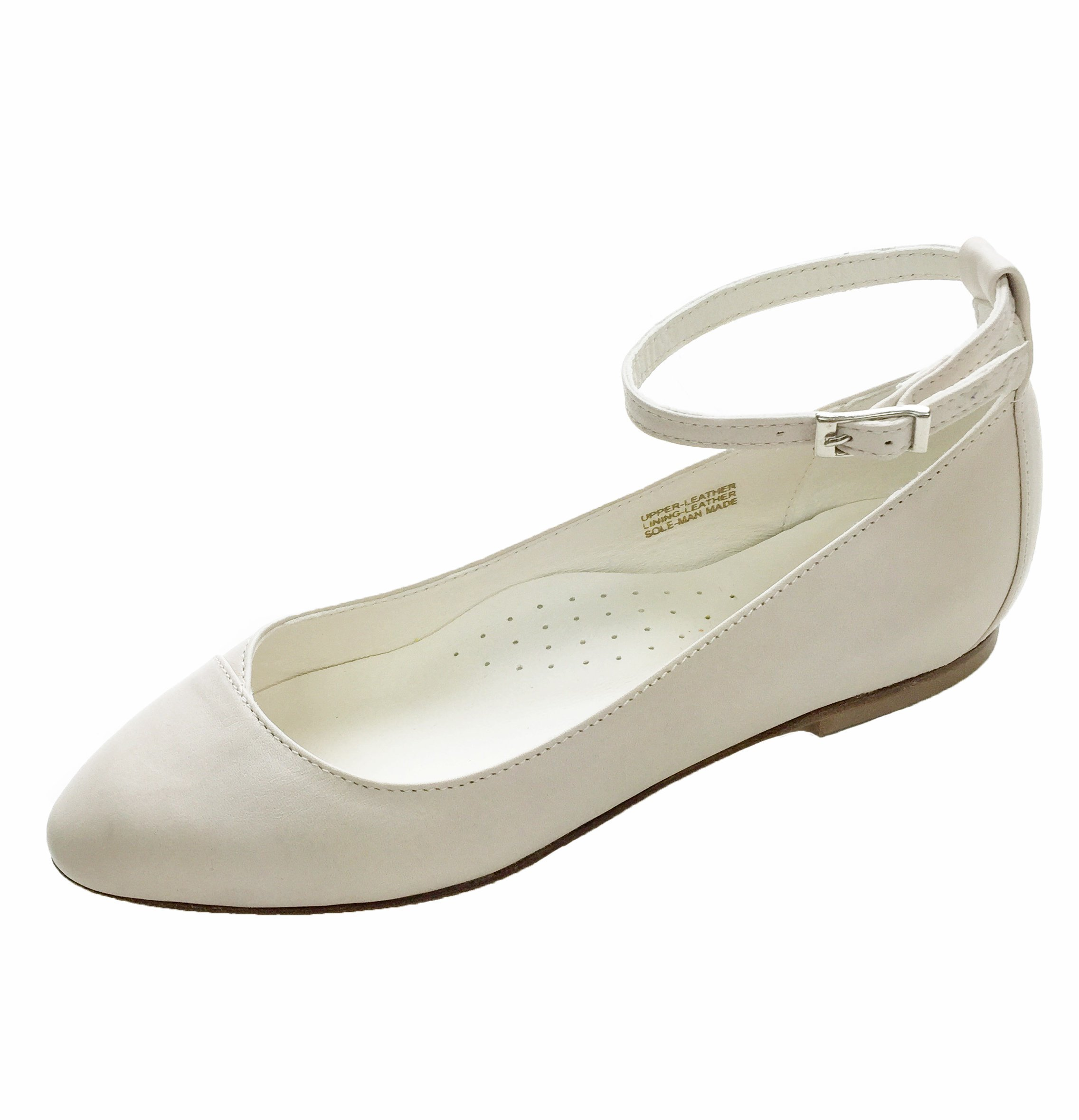 Chebran Narrow Width | Made In Portugal | Ankle Strap | Off-White Leather Flats | Size 9