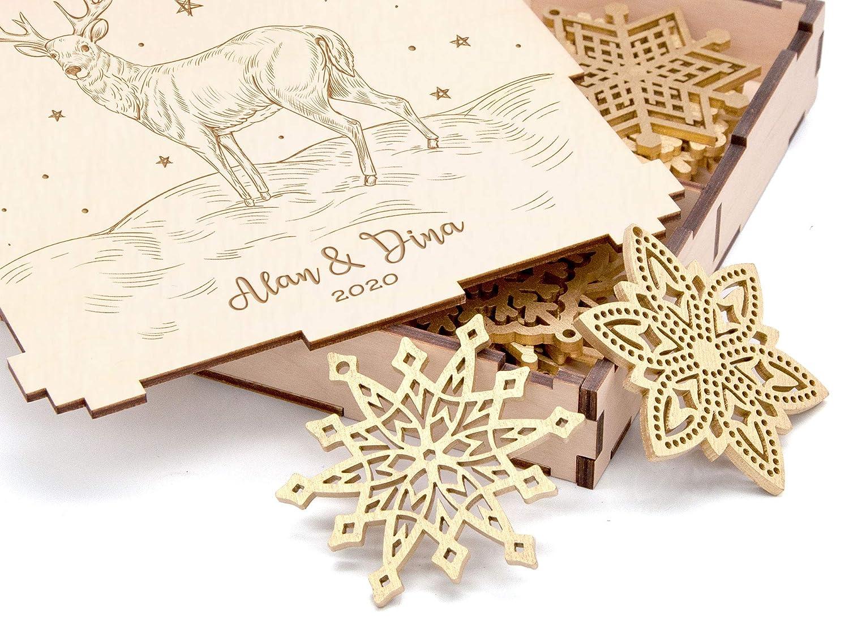 Amazon Com Personalized Christmas Gift Wooden Christmas Ornament Rustic Christmas Snowflake Set Of 8 24 Christmas Decoration Deer Christmas Gift For Couple Family Gifts Ideas Xmas Home Decor Wooden Snowflake Box Handmade