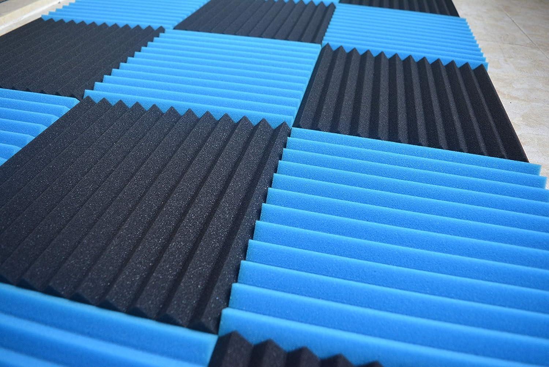 Lot de 24/Noir Bleu 2,5/x 30,5/x 30,5/cm acoustique Wedge Studio en mousse son absorption Panneaux muraux