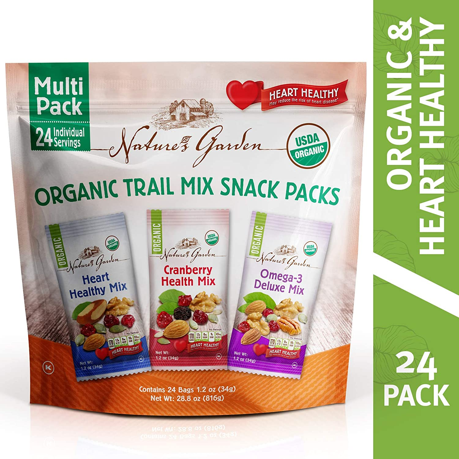 Nature's Garden Organic Trail Mix Snack Packs, Multi Pack 1.2 oz - Pack of 24 (Total 28.8 oz)