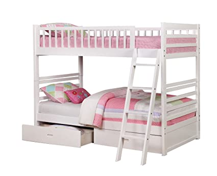 White Twin Over Twin Bunk Bed With Storage Drawers Amazon Ca Home
