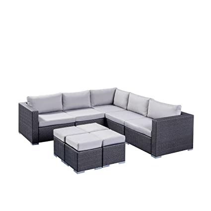 Excellent Tammy Rosa Outdoor 5 Seater Wicker Sectional Sofa Set With Aluminum Frame And Cushions Grey And Silver Ncnpc Chair Design For Home Ncnpcorg
