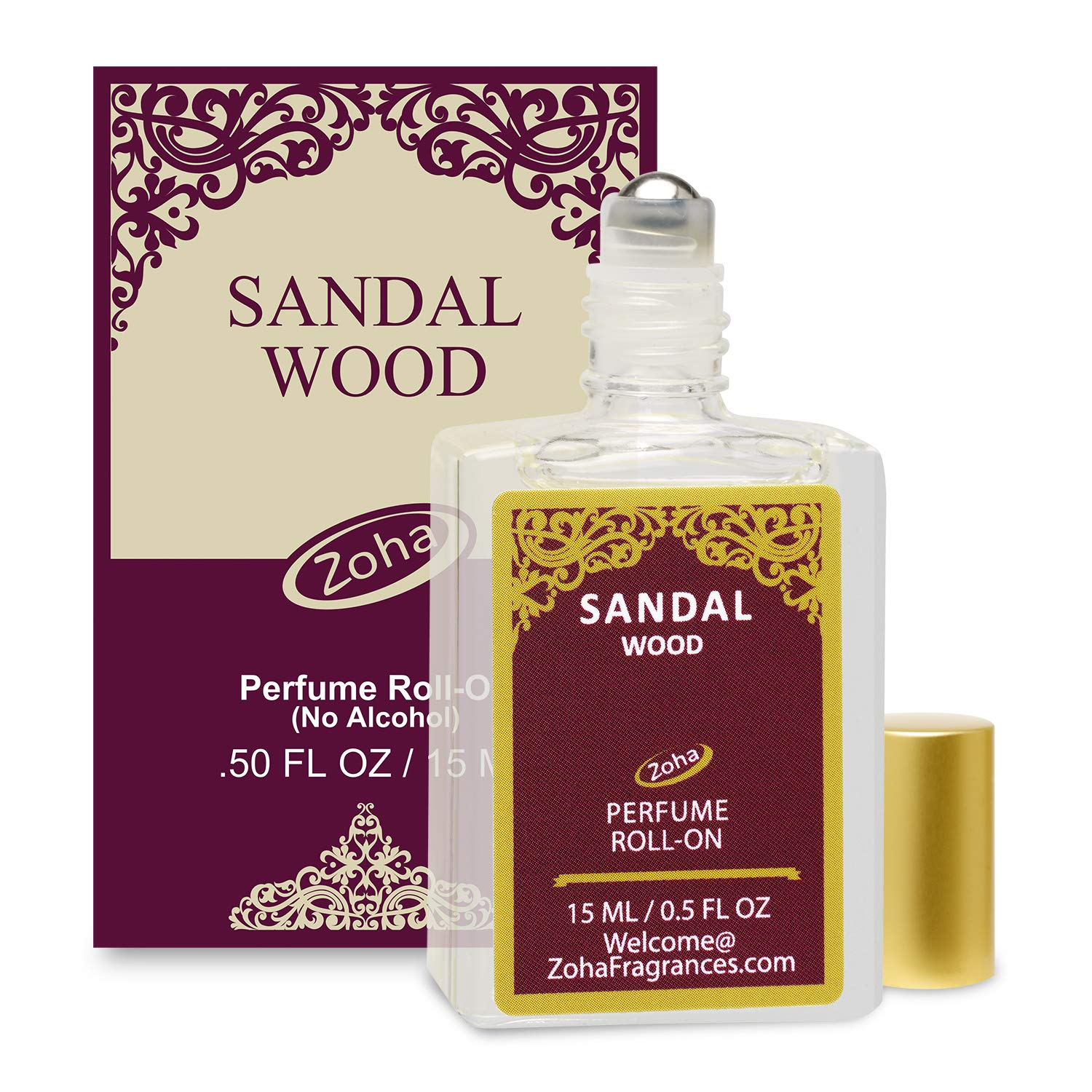 Sandalwood Perfume Oil Roll-On (No Alcohol) - Essential Oils and Clean Beauty Hypoallergenic Vegan Perfumes for Women and Men by Zoha Fragrances, 15 ml / 0.50 fl Oz