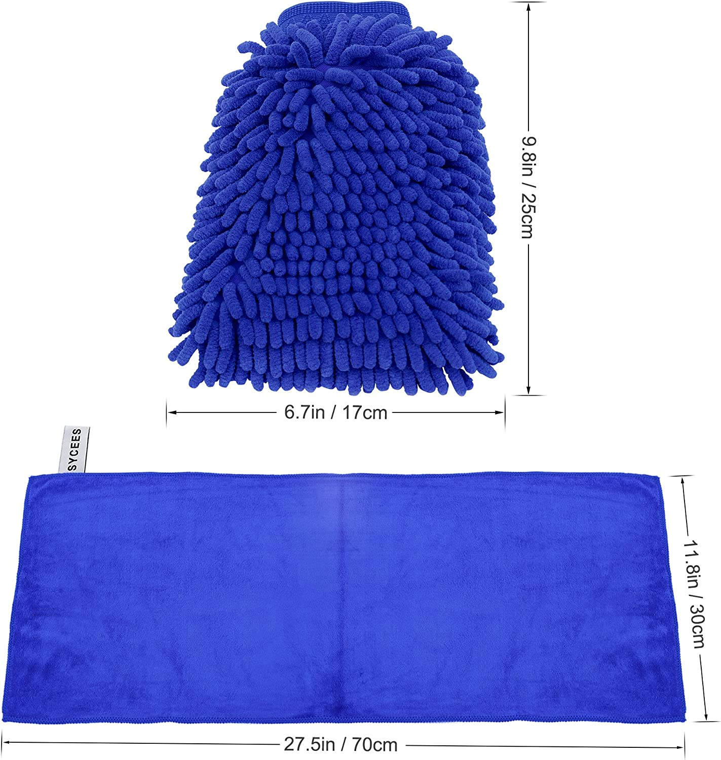 Pack of 2 Car Wash Mitt Cleaning Gloves with Large Polishing Cloth SYCEES Microfiber Mitt
