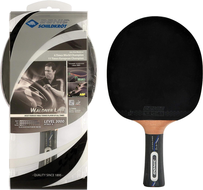Donic-Schildkröt Waldner 3000–Raqueta de Tenis de Mesa, ABP Mango de Madera Esponja, Carbon, 2,1mm, Liga–ITTF Combinado, 751803